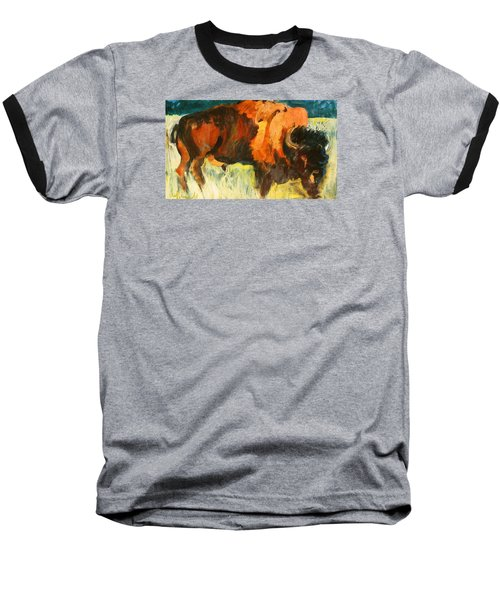 Baseball T-Shirt featuring the painting Debbie's Postcard Buffalo by Les Leffingwell