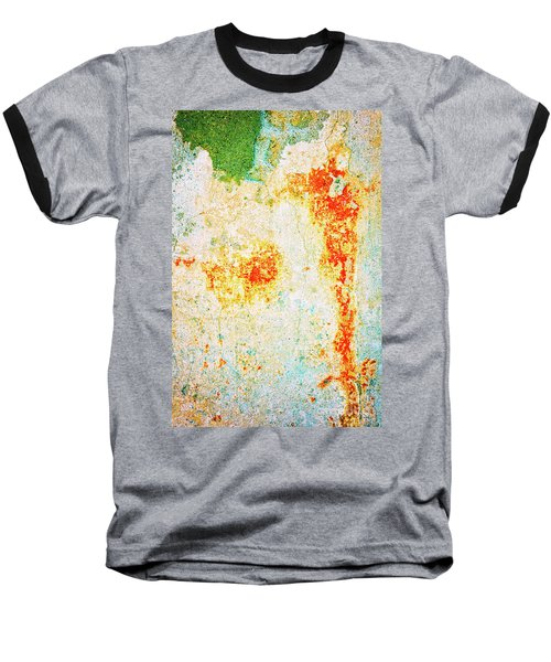 Baseball T-Shirt featuring the photograph Decayed Wall With Orange Paint by Silvia Ganora