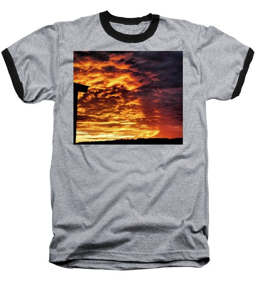 Baseball T-Shirt featuring the painting December Austin Sunset  by Layne William LoMaglio