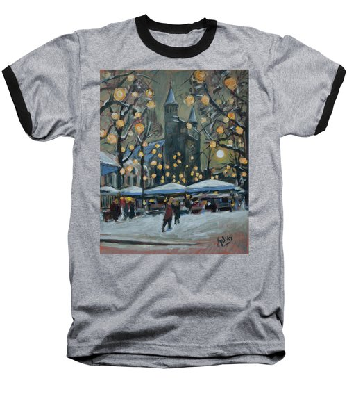 December Lights At The Our Lady Square Maastricht 2 Baseball T-Shirt by Nop Briex