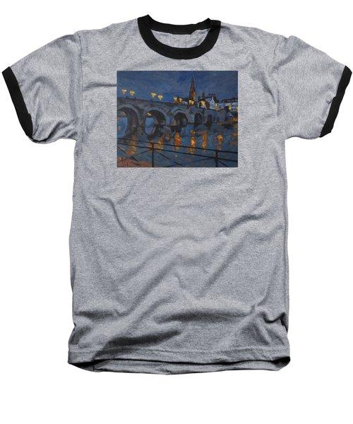 December Lights Old Bridge Maastricht Acryl Baseball T-Shirt by Nop Briex
