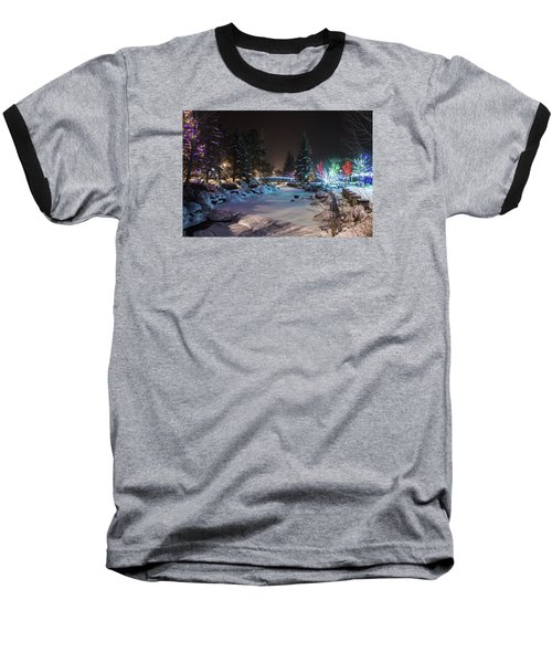 Baseball T-Shirt featuring the photograph December On The Riverwalk by Perspective Imagery