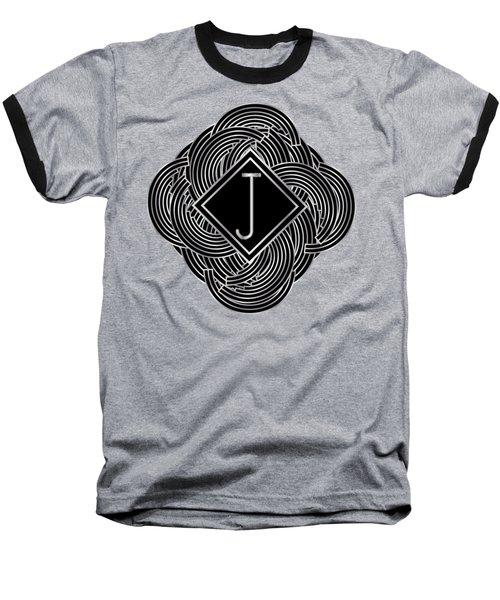 Deco Jazz Swing Monogram ...letter J Baseball T-Shirt