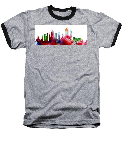 Decorative Skyline Abstract New York P1015c Baseball T-Shirt