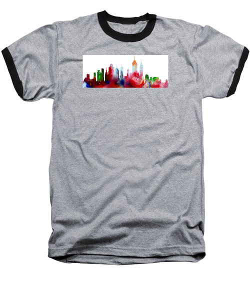 Decorative Skyline Abstract New York P1015c Baseball T-Shirt