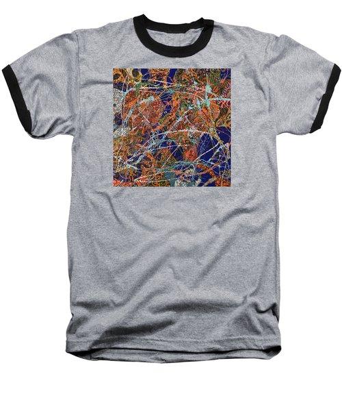 Deep Blue  Baseball T-Shirt by Erika Pochybova