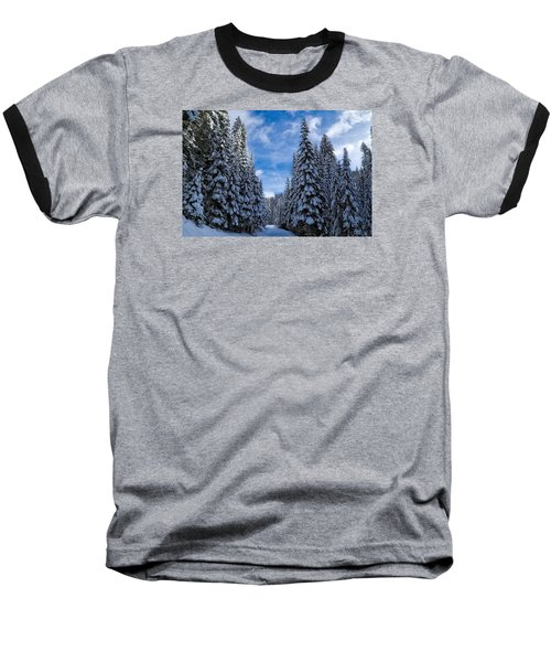 Deep In The Snowy Forest Baseball T-Shirt by Lynn Hopwood