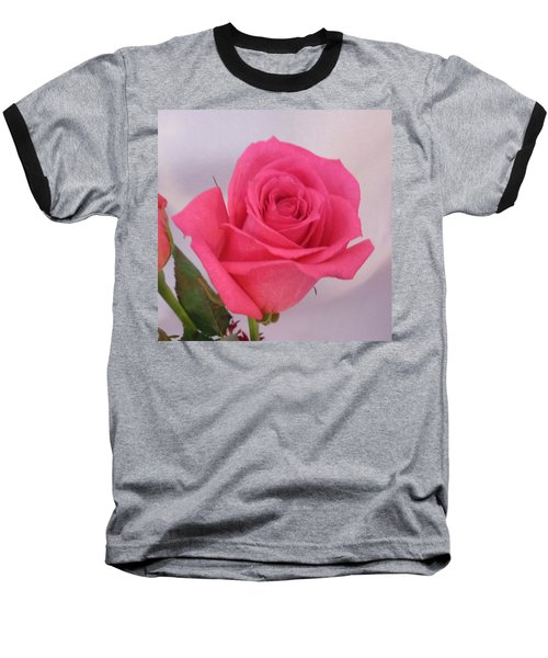 Deep Pink Rose Baseball T-Shirt by Karen J Shine