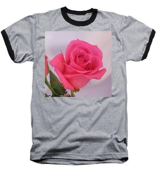 Deep Pink Rose Baseball T-Shirt