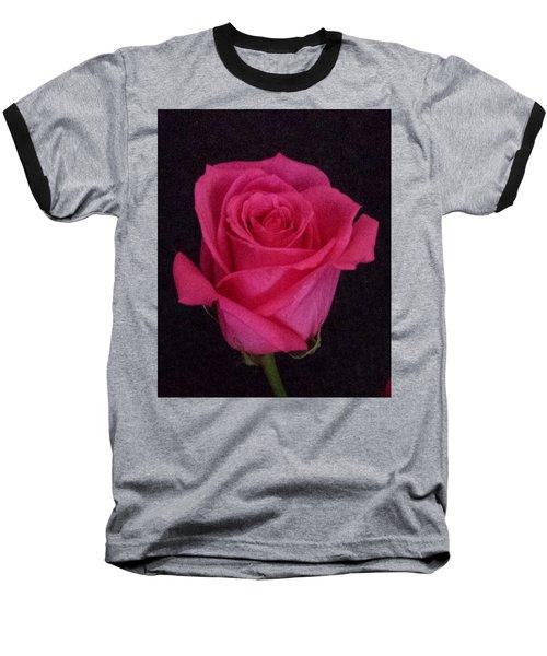 Deep Pink Rose On Black Baseball T-Shirt