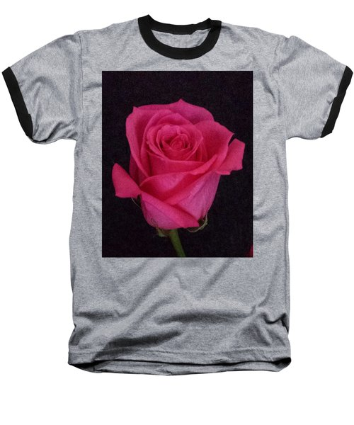 Deep Pink Rose On Black Baseball T-Shirt