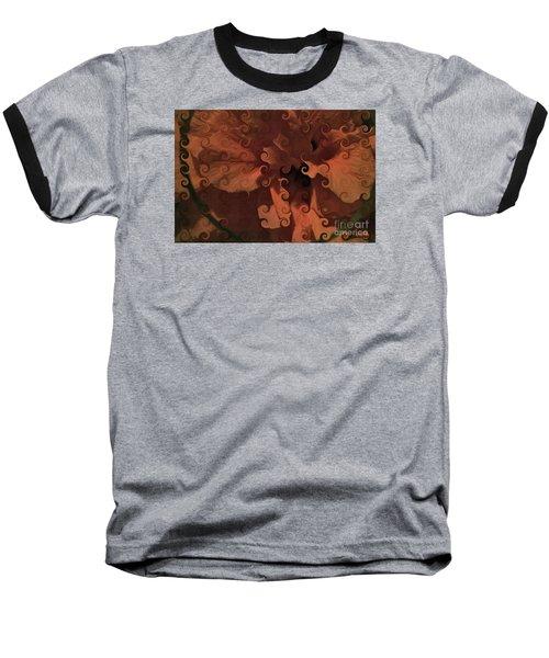 Deep Wine Curlicue Hibiscus Baseball T-Shirt