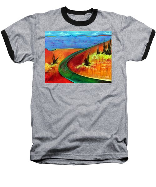 Baseball T-Shirt featuring the painting Deeper Than It Seems by Elizabeth Fontaine-Barr