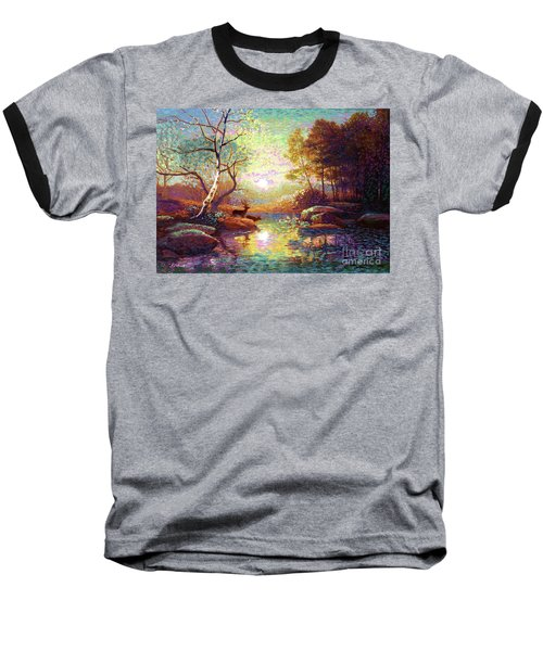 Baseball T-Shirt featuring the painting Deer And Dancing Shadows by Jane Small