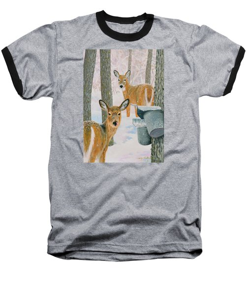 Deer And Sap Buckets Baseball T-Shirt