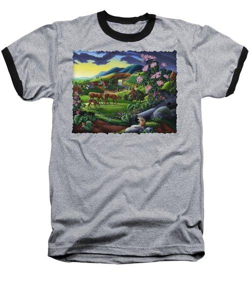 Deer Chipmunk Summer Appalachian Folk Art - Rural Country Farm Landscape - Americana  Baseball T-Shirt by Walt Curlee