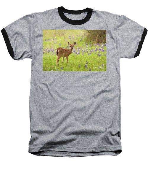 Deer In The Bluebonnets Baseball T-Shirt