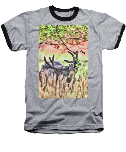 Baseball T-Shirt featuring the photograph Deer In The Orchard by Wesley Aston