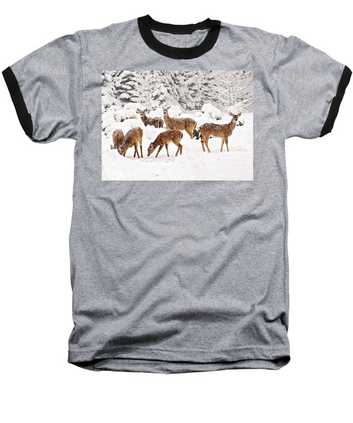 Baseball T-Shirt featuring the photograph Deer In The Snow 2 by Angel Cher