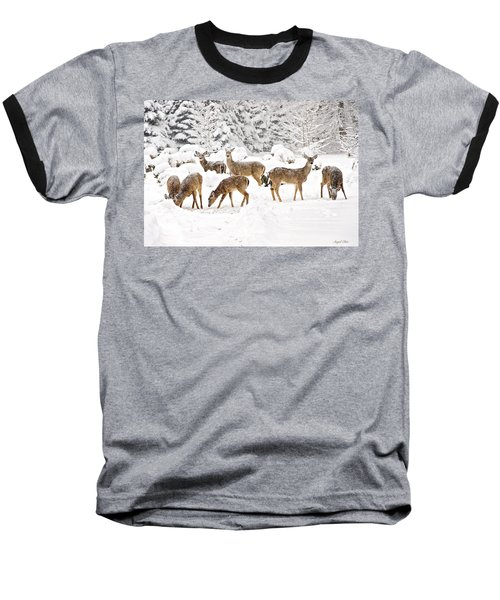 Baseball T-Shirt featuring the photograph Deer In The Snow by Angel Cher