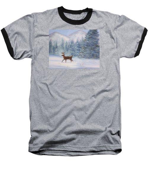Deer In The Snow Baseball T-Shirt by Denise Fulmer