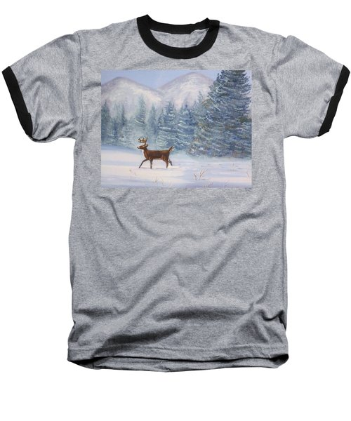 Deer In The Snow Baseball T-Shirt