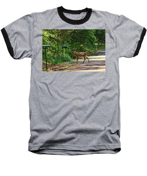 Deer Loves Flowers Baseball T-Shirt