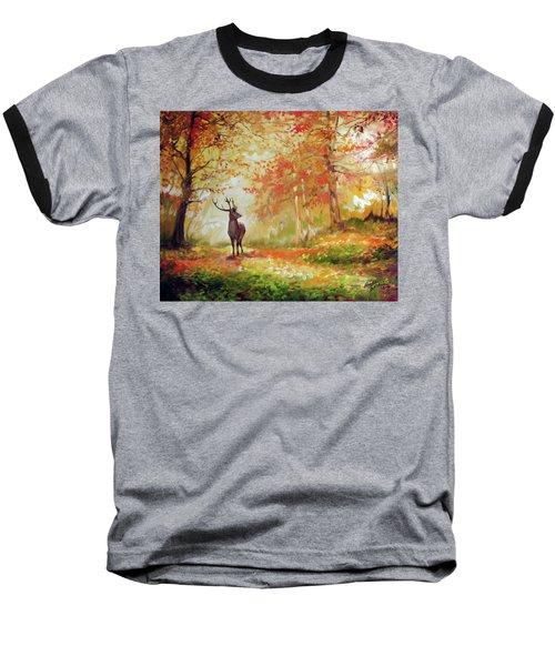 Deer On The Wooden Path Baseball T-Shirt