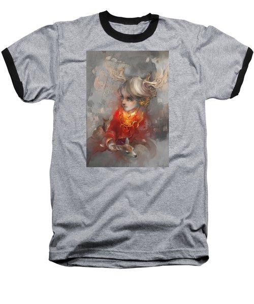 Baseball T-Shirt featuring the digital art Deer Princess by Te Hu