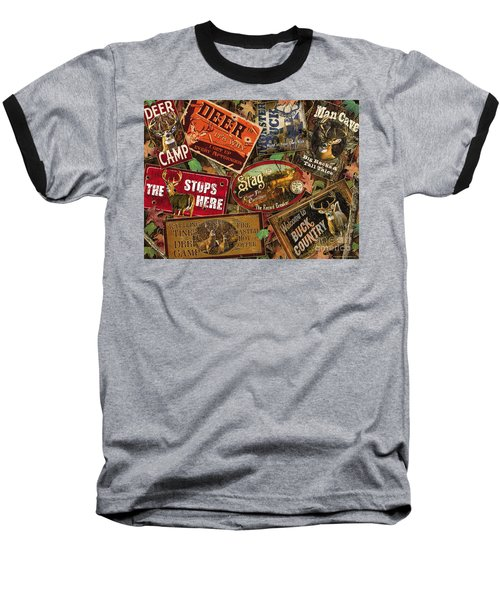 Baseball T-Shirt featuring the painting Deer Sign Collage by Bruce Miller JQ Licensing