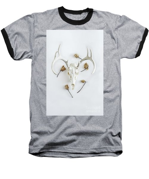 Baseball T-Shirt featuring the photograph Deer Skull With Antlers And Roses by Stephanie Frey
