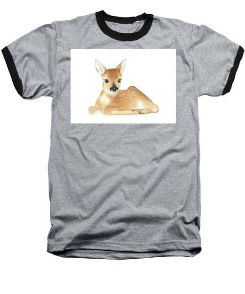 Deer Watercolor Baseball T-Shirt by Taylan Apukovska