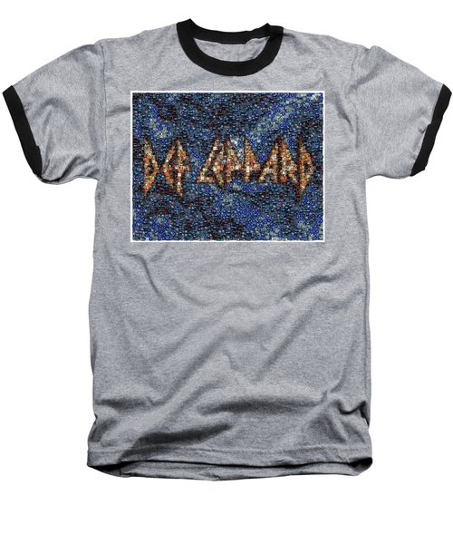 Def Leppard Albums Mosaic Baseball T-Shirt by Paul Van Scott