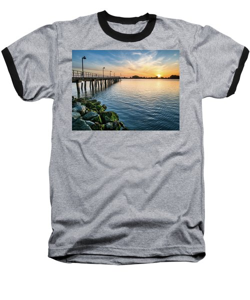 Del Norte Pier And Spring Sunset Baseball T-Shirt by Greg Nyquist