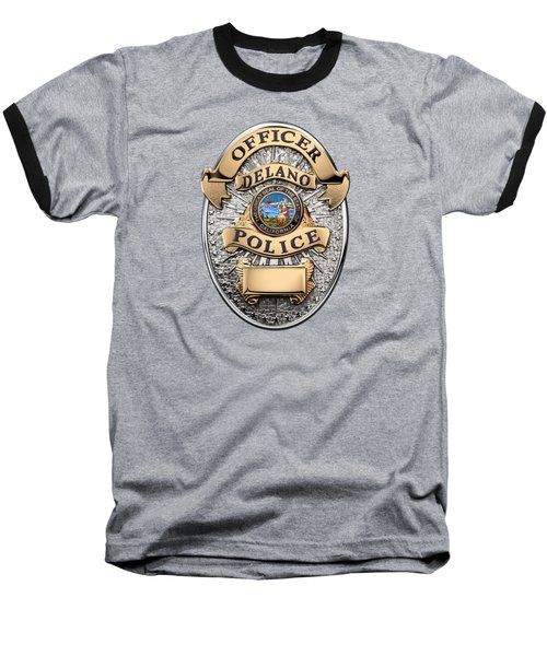 Baseball T-Shirt featuring the digital art Delano Police Department - Officer Badge Over Blue Velvet by Serge Averbukh