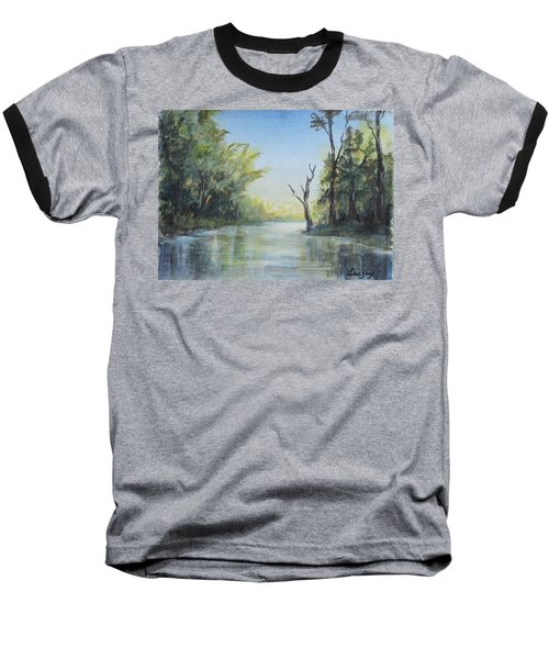 Baseball T-Shirt featuring the painting Delaware River  by Luczay