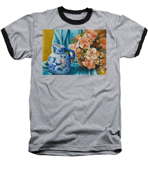 Baseball T-Shirt featuring the painting Delft Pitcher With Flowers by Marlene Book