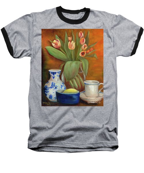 Delft Vase And Mini Tulips Baseball T-Shirt by Marlene Book