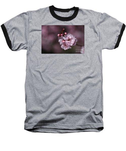 Delightful Pink Prunus Flowers Baseball T-Shirt by Joy Watson