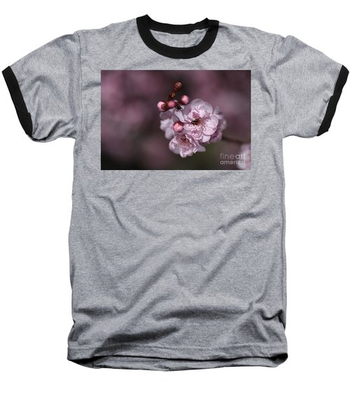 Delightful Pink Prunus Flowers Baseball T-Shirt