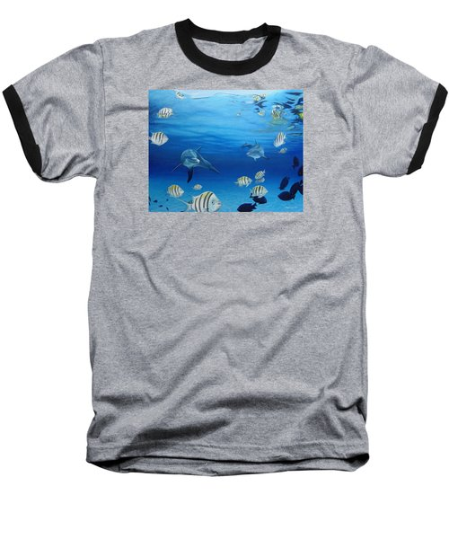 Delphinus Baseball T-Shirt by Angel Ortiz