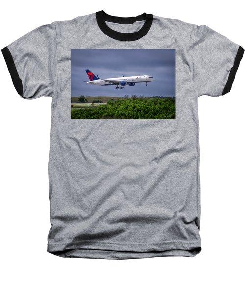 Delta Air Lines 757 Airplane N557nw Art Baseball T-Shirt by Reid Callaway