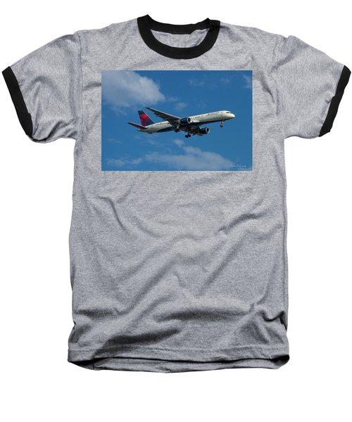 Delta Air Lines 757 Airplane N668dn Baseball T-Shirt by Reid Callaway