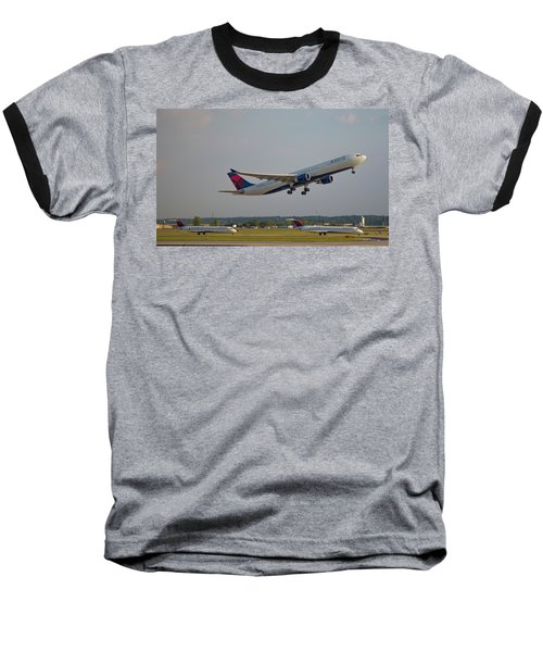 Delta Airlines Jet N827nw Airbus A330-300 Atlanta Airplane Art Baseball T-Shirt