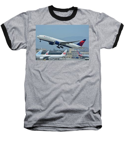 Baseball T-Shirt featuring the photograph Delta Boeing 777-232lr N703dn Los Angeles International Airport May 3 2016 by Brian Lockett
