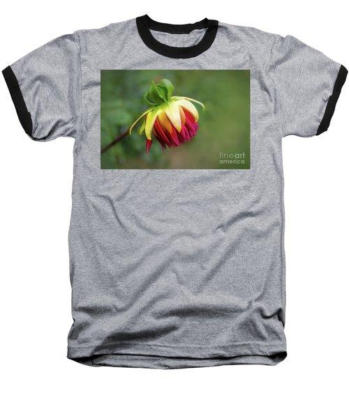 Demure Dahlia Bud Baseball T-Shirt