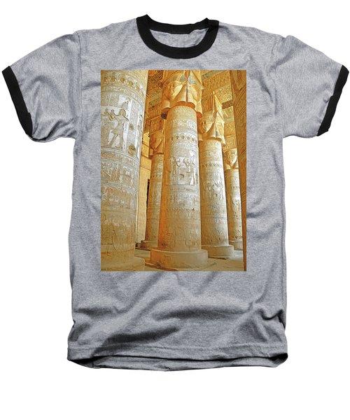 Dendera Temple Baseball T-Shirt by Nigel Fletcher-Jones