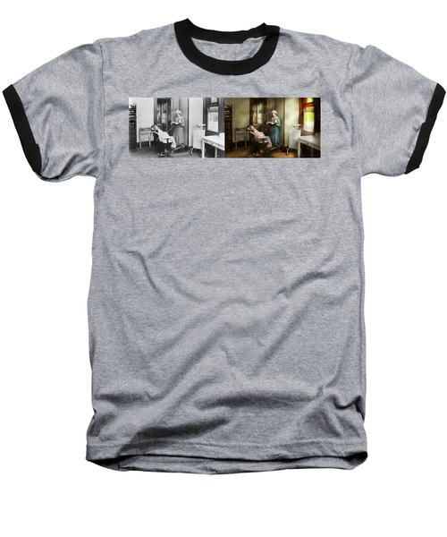 Baseball T-Shirt featuring the photograph Dentist - Patients Is A Virtue 1920 - Side By Side by Mike Savad