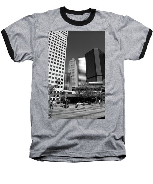 Denver Architecture Bw Baseball T-Shirt by Frank Romeo