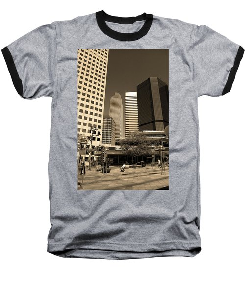 Baseball T-Shirt featuring the photograph Denver Architecture Sepia by Frank Romeo
